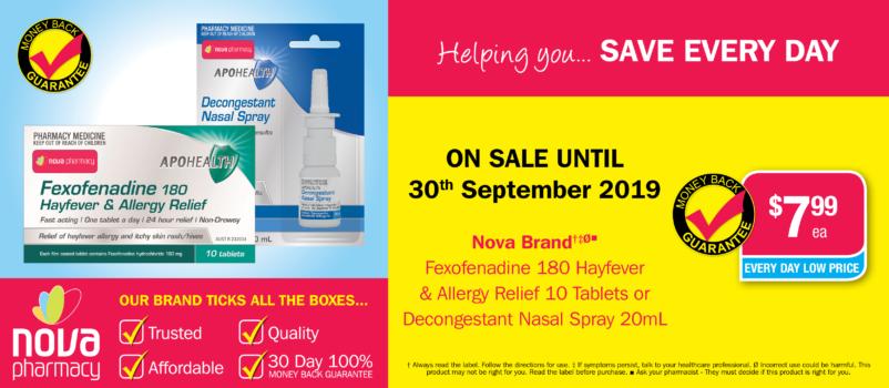 Nova Brand Hayfever Relief $7.99