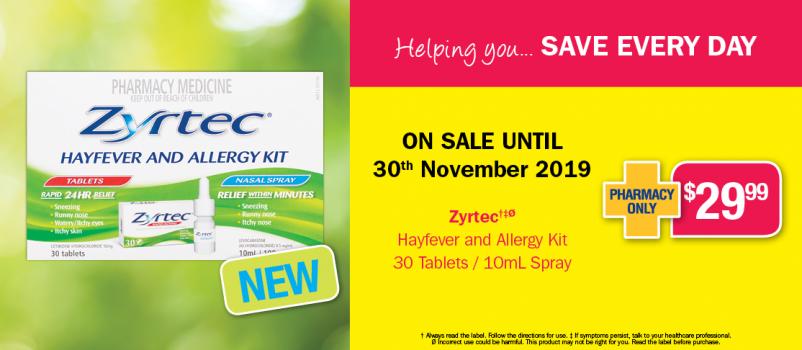 Zyrtec Hayfever and Allergy Kit $29.99