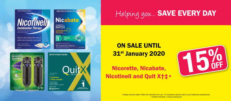 15% OFF Nicorette, Nicabate, Nicotinell and QuitX