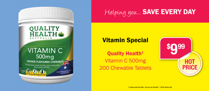 Quality Health Vitamin C 500mg 200 Tablets $9.99